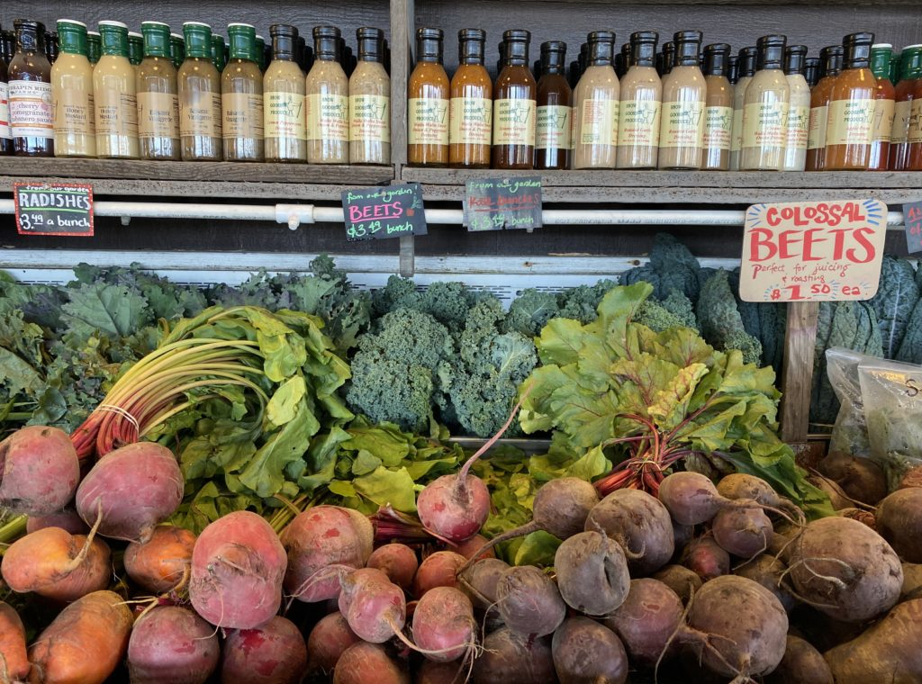 Beets and salad dressings at Snow Goose Produce stand near Seattle