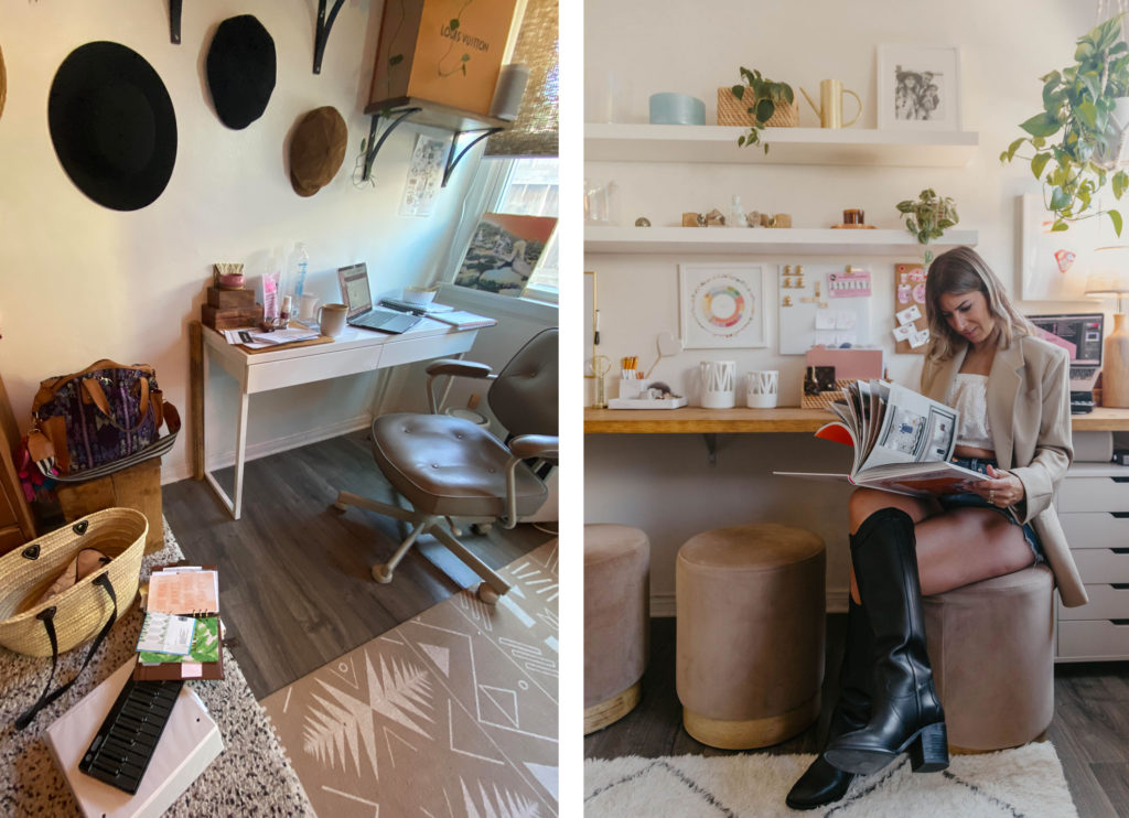 Palm Coffee Bar home office before and after